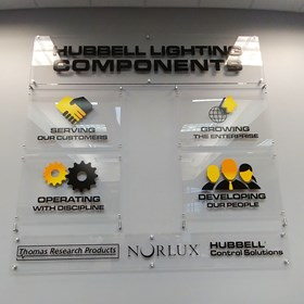 Interior Acrylic Display for Hubbell Lighting Inc in Rolling Meadows, ILq